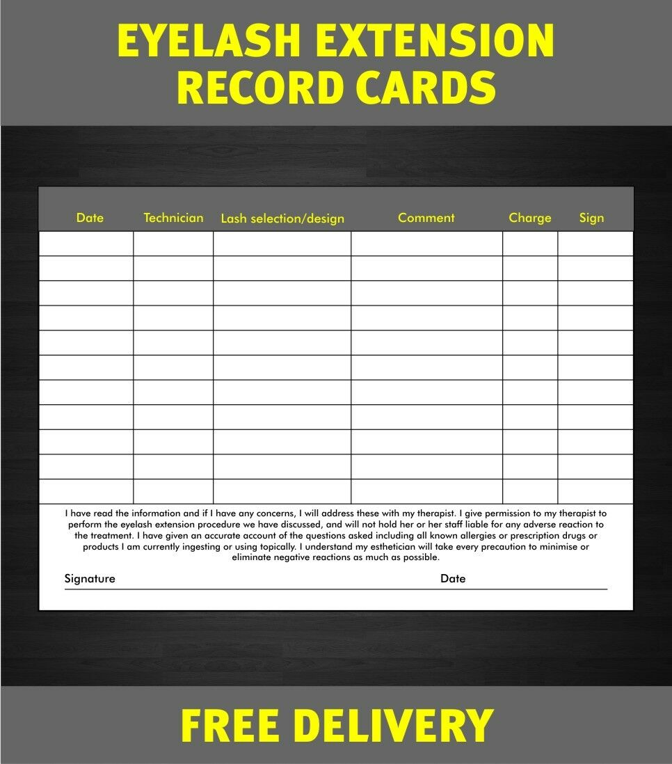 eyelash extension form beauty record consultation cards salon beauty