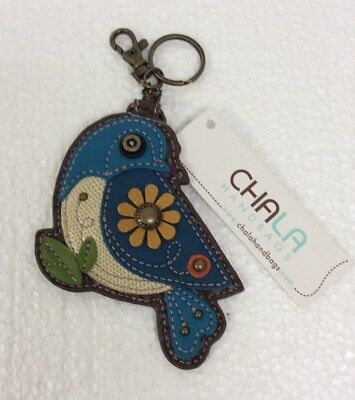 Chala Blue Bird Key Chain Charm FOB Ring Faux Leather Coin Purse New