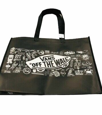 "VANS Off The Wall Skateboard Reusable 13"" Tall Tote Bag Checkerboard Black"