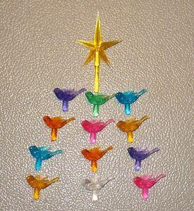 12 Medium Turtle Dove Bird Light Bulbs Peg + YELLOW Star Ceramic Christmas Tree