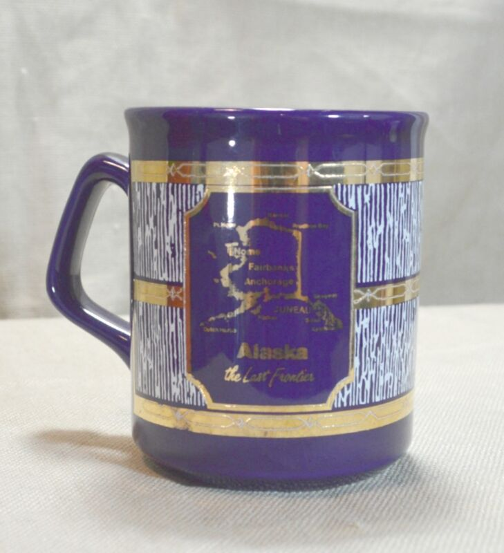 Coffee Cup Anchorage Alaska Dog Sledding Cobalt Blue