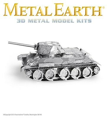 Fascinations Metal Earth T-34 Tank WWII Soviet Laser Cut 3D Model