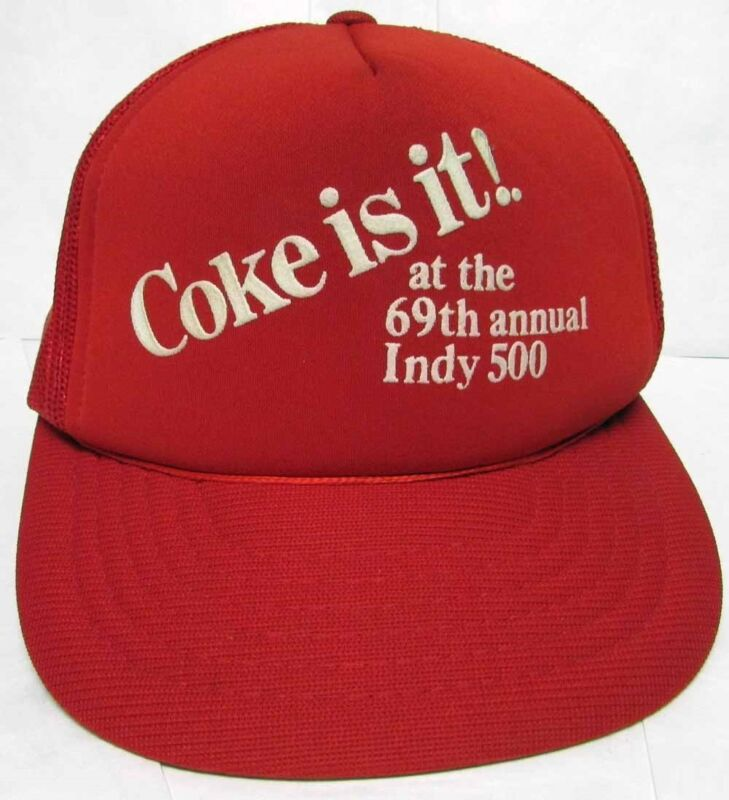 Ball Cap Hat 1985 Coke is it at the 69th Annual Indy 500 Baseball