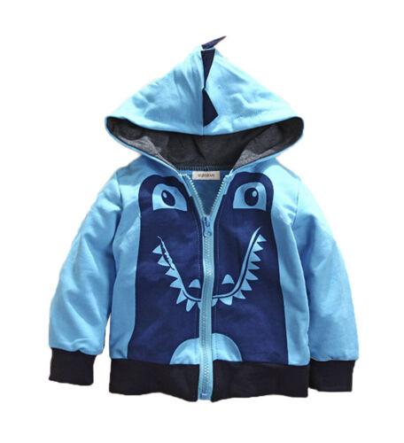 Styles I Love Baby Boy Dinosaur Blue 3D Hooded Jacket, 2T