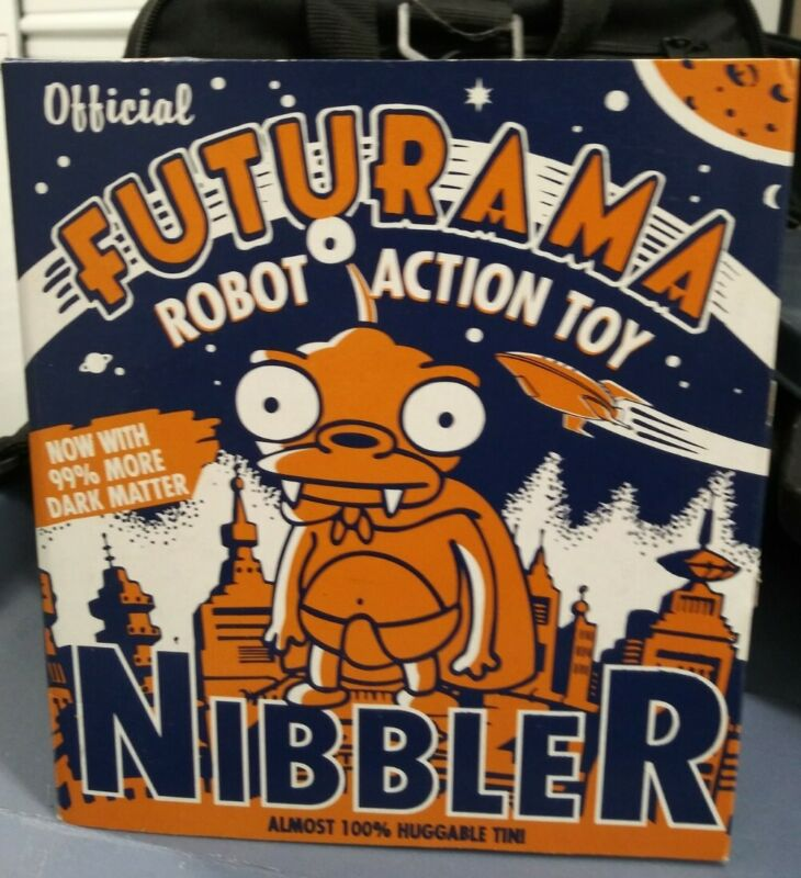 Vintage New Futurama Nibbler Robot Action Wind-Up Tin Toy Rocket USA 2000 RARE