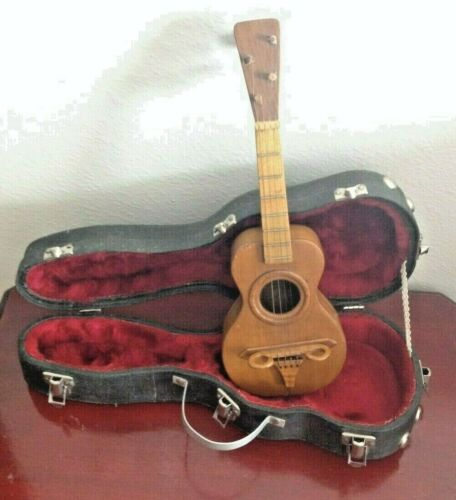 "VINTAGE HANDMADE MINI UKULELE.W/HARD CASE. 13"" LENGTH"