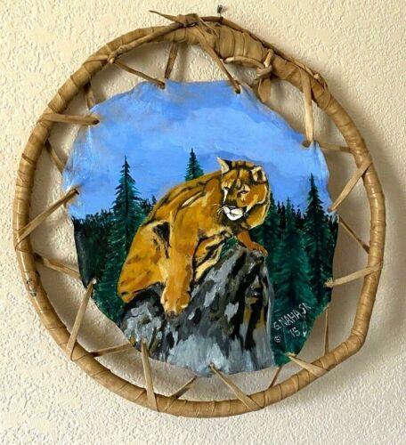 Mandala Dream Catcher Hand Painted on Leather Mountain Lion by Naha , Hopi Tewa