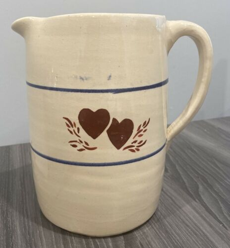 """Marshall Pottery Handmade 7.5"""" Pitcher Red Hearts"""