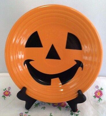 Fiestaware Happy Pumpkin Lunch Plate Fiesta Retired Tangerine Halloween NWT](Fiesta Halloween)
