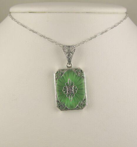 "Necklace Camphor Glass Green Sun-Ray w/Diamond Filigree Pendant 18""L"