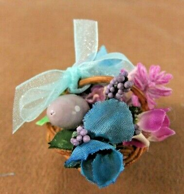 """Artist made Spring basket for 8"""" dolls -One of a kind w/ flowers & painted egg."""