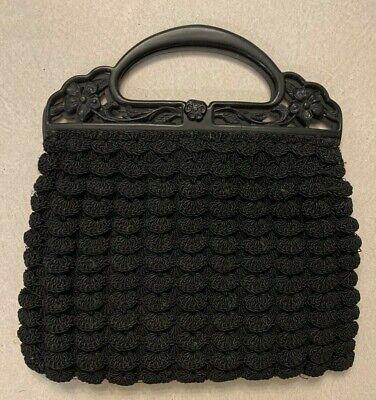 1930s Handbags and Purses Fashion 1930s Vtg Black Celluloid Floral Plastic Handle Purse Crochet Handbag $24.99 AT vintagedancer.com