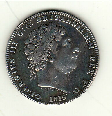 GREAT BRITAIN GEORGES III CROWN SILVER 1819 anno LIX TTB cote 750 $