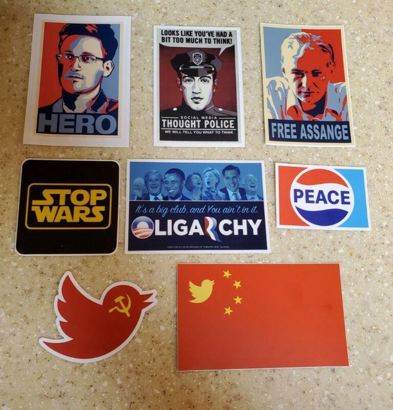 Alex Jones inspired Sticker Lot of 8 Anti Censorship Tyranny pro PEACE freedom