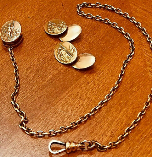 Antique Art Deco Gold Filled Lady Columbia Watch Chain w.Matching  Cuff Links