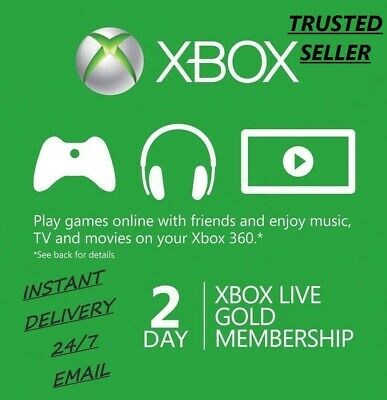XBOX LIVE 48 HOUR GOLD TRIAL MEMBERSHIP CODE (2 DAY) RECEIVE INSTANTLY AND PLAY!