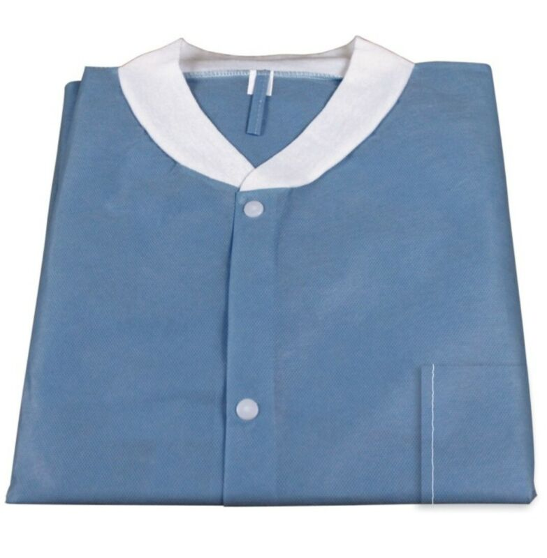 ( Small) Medical Dental Disposable Lab Coat Gown Blue, With Pockets, 10pcs/bag