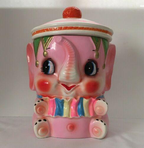 Vintage Wales Pretty Pink Circus Elephant Cookie Jar