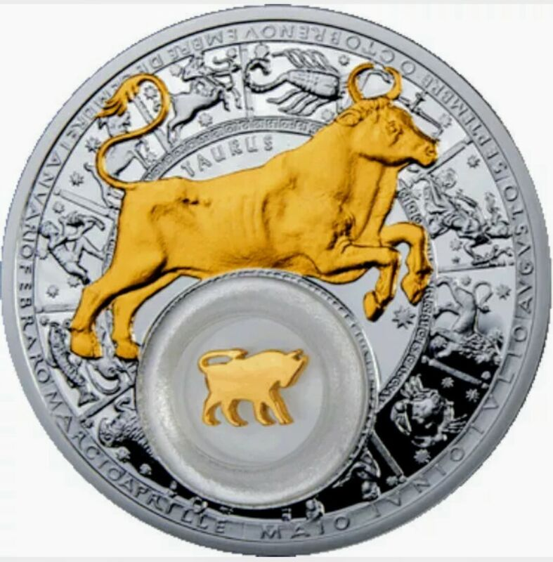 2013 Belarus 20 Rubles ZODIAC TAURUS Gold Gilded 1oz .925 Proof Silver Coin