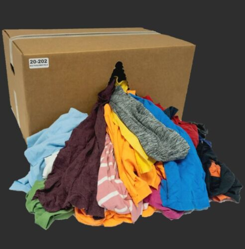 COLOR KNIT T-SHIRT WIPING RAGS CLEANING CLOTH 10 LB BOX - BEST QUALITY & PRICE