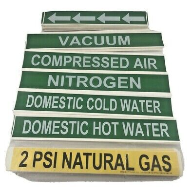Pipe Marker Labels Lot Of 113 Misc Assorted - Green Yellow Brimar