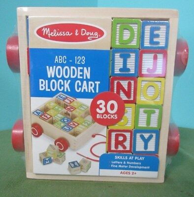 CLASSIC ABC 123 BLOCK CART - 30 Wooden Blocks - Melissa & Doug Educational Toy