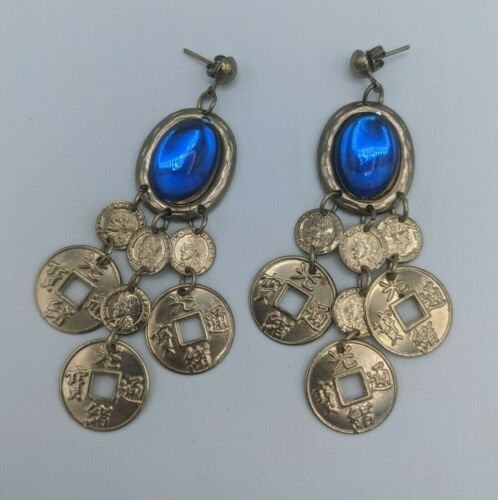 Vintage Gold Tone Chandelier Dangle Asian Chinese Coin Pierced Earrings Blue