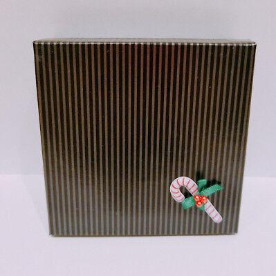 Christmas 3d Candy Cane Ribbon Pinstripe Squar Necklace Brooch Bracelet Gift Box