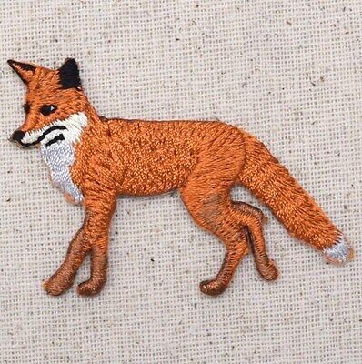 New Iron-On Applique Embroidered Patch Wild Red Walking Fox Facing Left