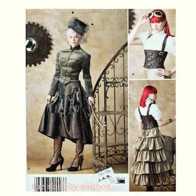 Simplicity Steampunk Cosplay Women's Sewing Pattern Corset Skirt Size 6 8 10 12