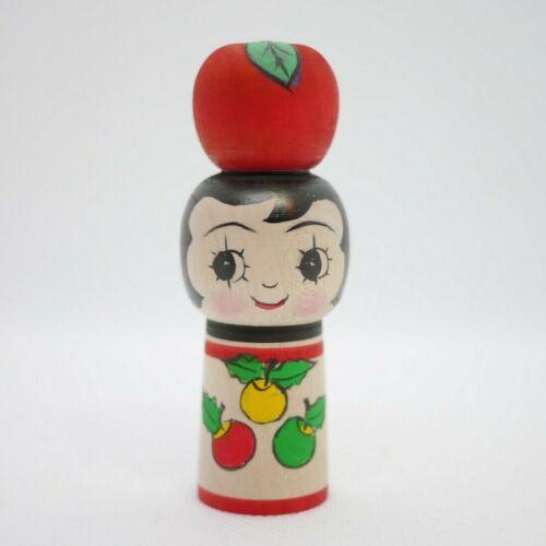 Japanese Traditional Kokeshi Doll Rei Yamaya (1936-) Red Apple Tsugaru