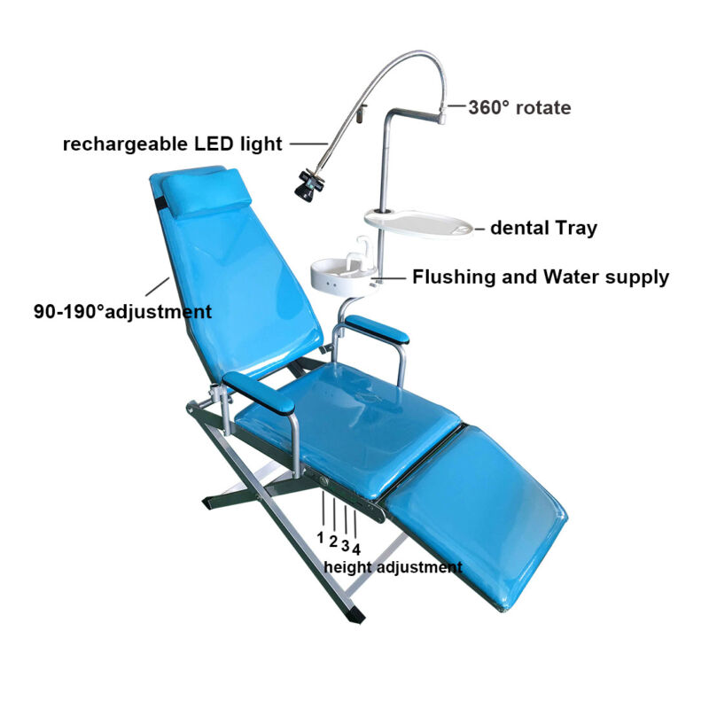 Dental Portable Folding Mobile Chair +LED Light+Tray+Waste Basin+Water Supply US