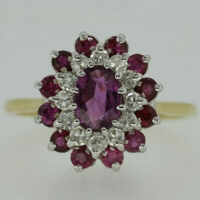 18ct Yellow Gold Ruby & Diamond Ring Size S 1/2
