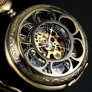 Classic Black Skeleton Windup Mechanical Antique Chain Man Men Mens Pocket Watch