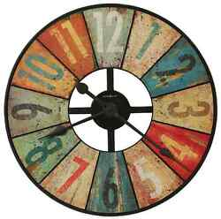 Rustic Colorful Wall Clock, Large 27 Office Home Decor Art, Vintage Charm, New