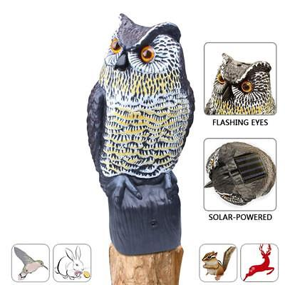 Realistic Solar Powered Owl Scarecrow Motion Detection Flashing Eyes Sounds Horn