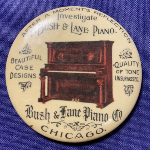 CELLULOID POCKET MIRROR ADVERTISEMENT BUSH & LANE PIANO CHICAGO UNSURPASSED TONE