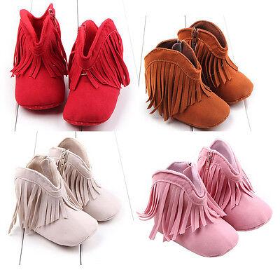 Newborn Toddler Infant Moccasin Baby Girl Shoes Soft Sole Boots Prewalker Tassel