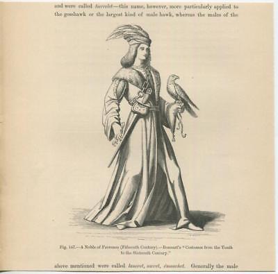 ANTIQUE NOBLEMAN PROVENCE COSTUME FALCON BIRD MEDIEVAL TIMES SABRE SWORD PRINT