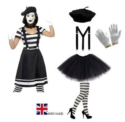 MIME ARTIST COSTUME Suspenders French Circus Halloween Ladies - Mime Artist Fancy Dress Kostüm