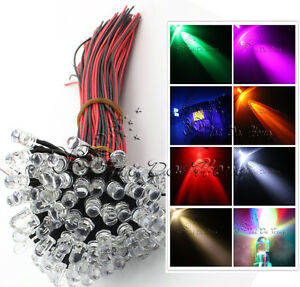 12V-DC-Pre-Wired-Ultra-bright-Water-clear-5mm-LED-Various-Colours-LED-Lamp-Light