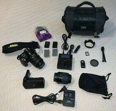 Nikon D D60 10.2MP Digital SLR Camera AF-S DX VR 18-55mm 55-200mm & EXTRAS!!!