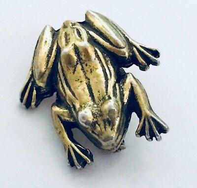 Frog Gold Tone Pin Brooch