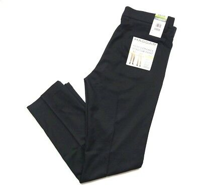 Haggar Men's In Motion Performance Straight Fit Stretch Pants Black, Size 36x30