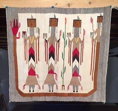 1930's NAVAJO Yei RUG 40x37 BLANKET Textile weaving Native American