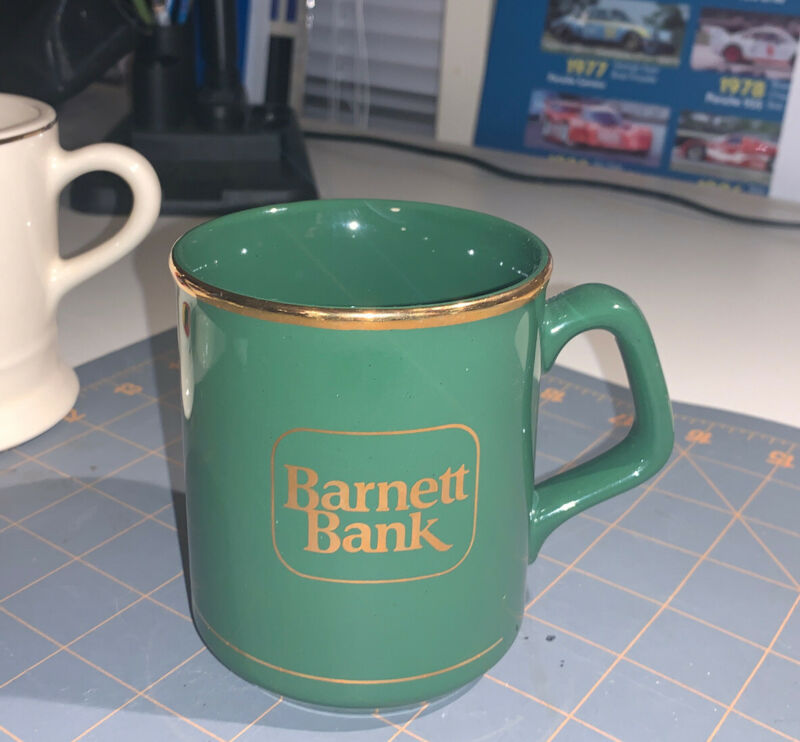 Vtg Barnett Bank Coffee Mug Florida Employee Advertising Collectible Promo