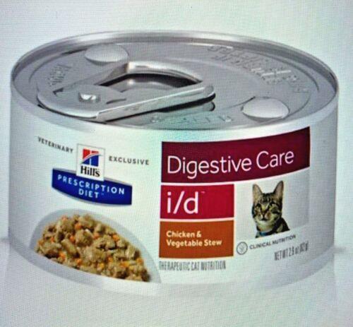 Hills Feline I/D Digestive Chkn stew can Cat Food 2.9 oz- 24 cans  free ship