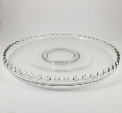 """VTG CANDLEWICK 12"""" CUPPED SERVING PLATTER CAKE PLATE CLEAR IMPERIAL GLASS"""