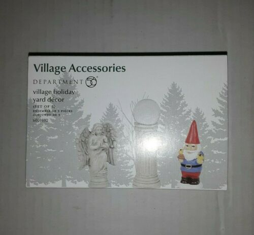 """Department 56 Christmas """"VILLAGE HOLIDAY YARD DECOR"""" RETIRED 2018 NEW SEALED"""