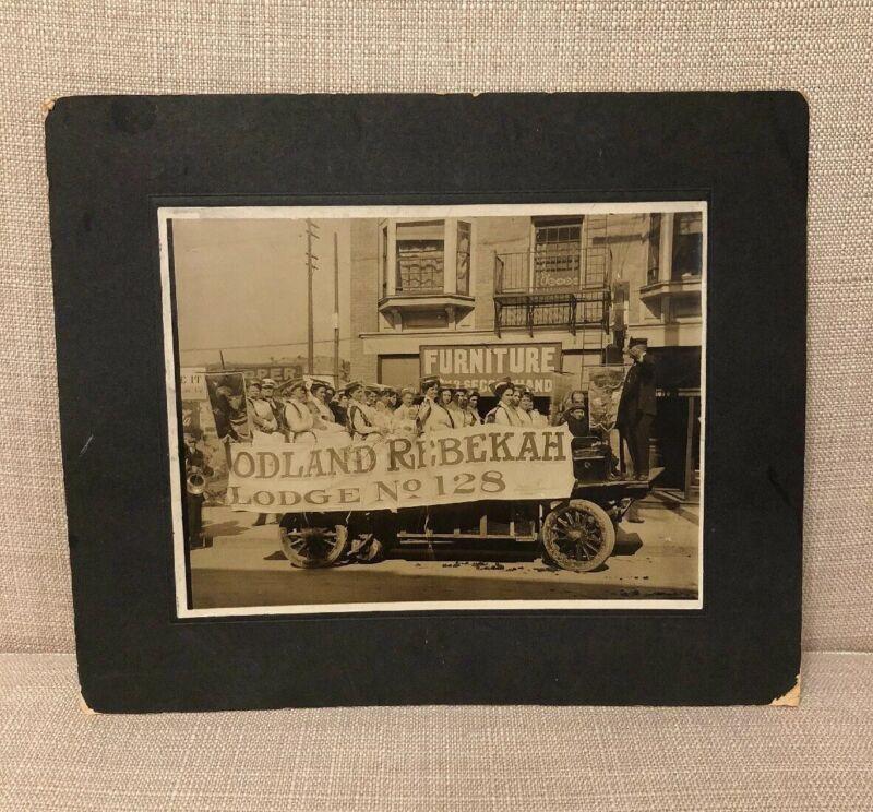 The Rebekah Lodge Odd Fellows Sepia Antique Parade Photograph Women